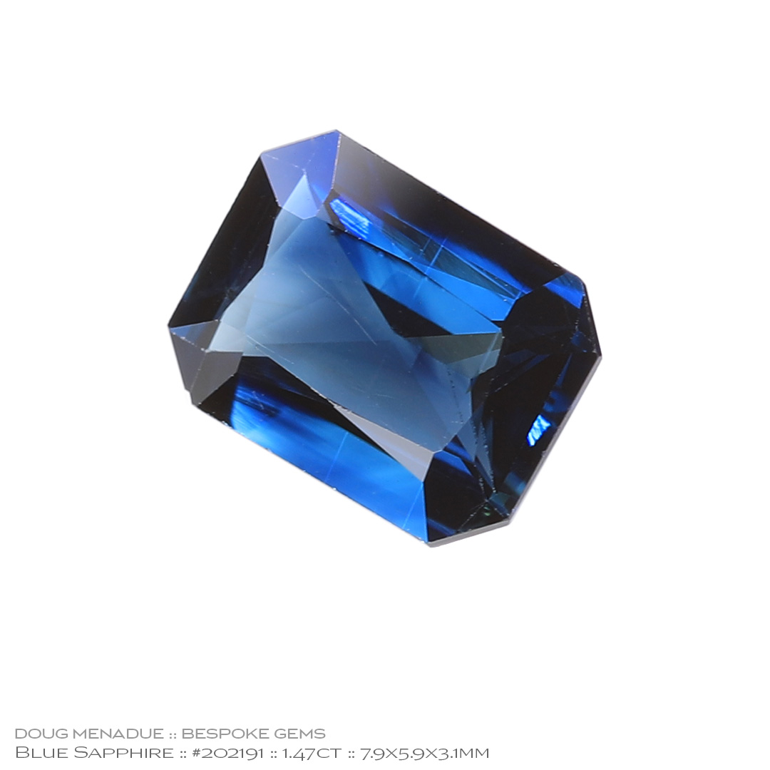 #202191, Blue Sapphire, Rectangle Radiant, 1.47 Carats, 13.16X13.11X10.41mm - Doug Menadue :: Bespoke Gems - WWW.BESPOKE-GEMS.COM - Precision Gemcutting and Lapidary Services In Sydney Australia