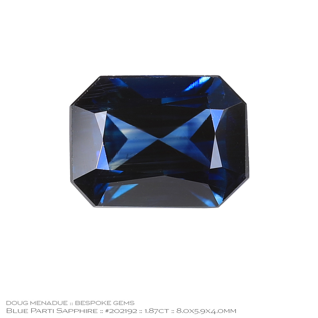 #202192, Blue Parti Sapphire, Rectangle Radiant, 1.87 Carats, 13.16X13.11X10.41mm - Doug Menadue :: Bespoke Gems - WWW.BESPOKE-GEMS.COM - Precision Gemcutting and Lapidary Services In Sydney Australia