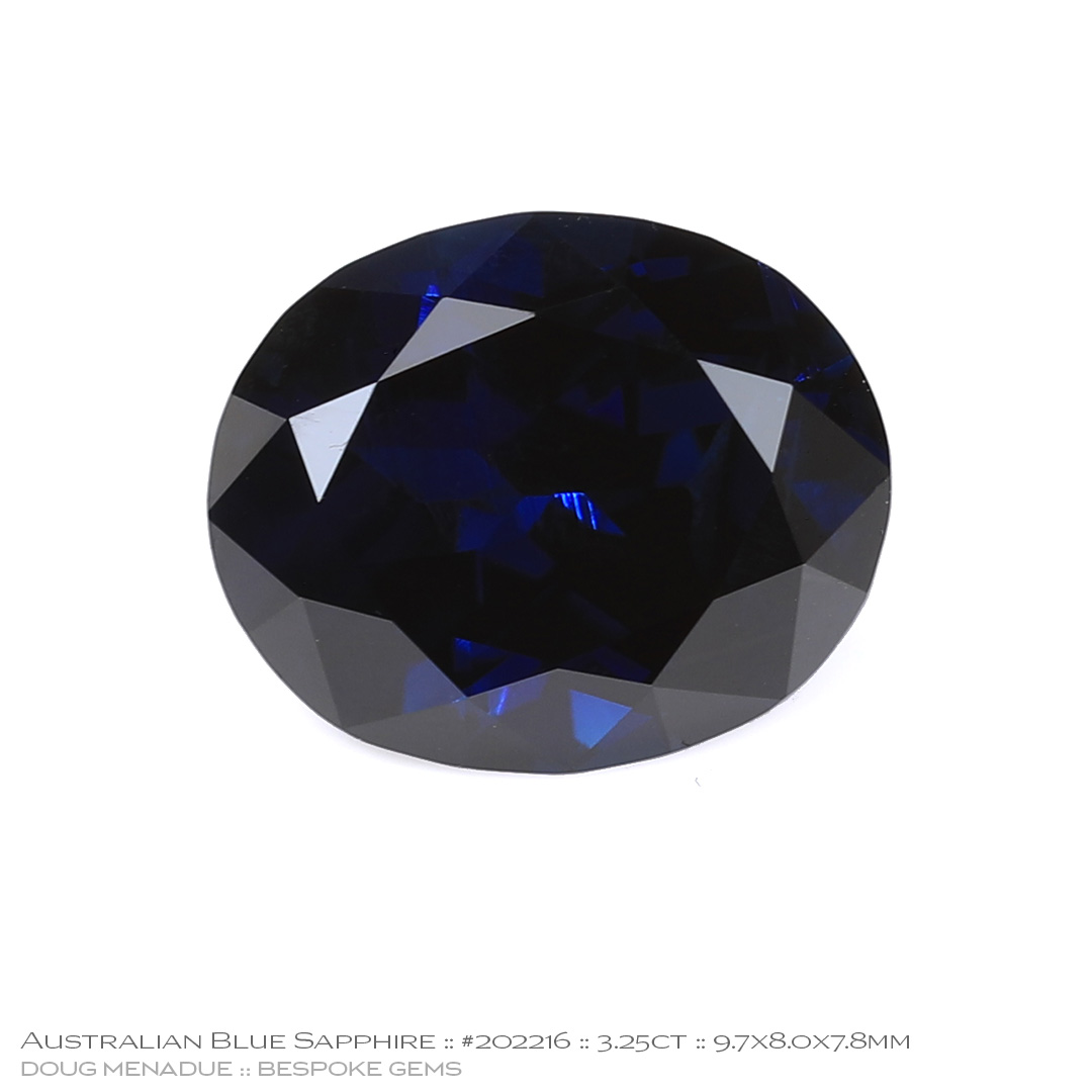 #202216, Blue Sapphire, Oval, 3.25 Carats, 13.16X13.11X10.41mm - Doug Menadue :: Bespoke Gems - WWW.BESPOKE-GEMS.COM - Precision Gemcutting and Lapidary Services In Sydney Australia