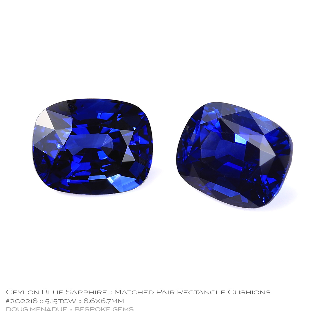 #202218, Blue Sapphire, Matched Pair Rectangle Cushions, 5.15 Carats, 13.16X13.11X10.41mm - Doug Menadue :: Bespoke Gems - WWW.BESPOKE-GEMS.COM - Precision Gemcutting and Lapidary Services In Sydney Australia