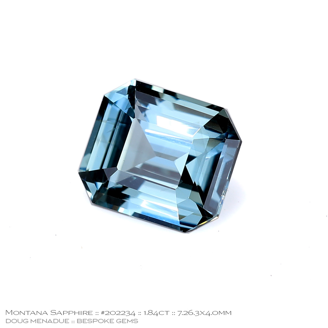 #202234, Blue Green Sapphire, Emerald Cut, 1.84 Carats, 13.16X13.11X10.41mm - Doug Menadue :: Bespoke Gems - WWW.BESPOKE-GEMS.COM - Precision Gemcutting and Lapidary Services In Sydney Australia