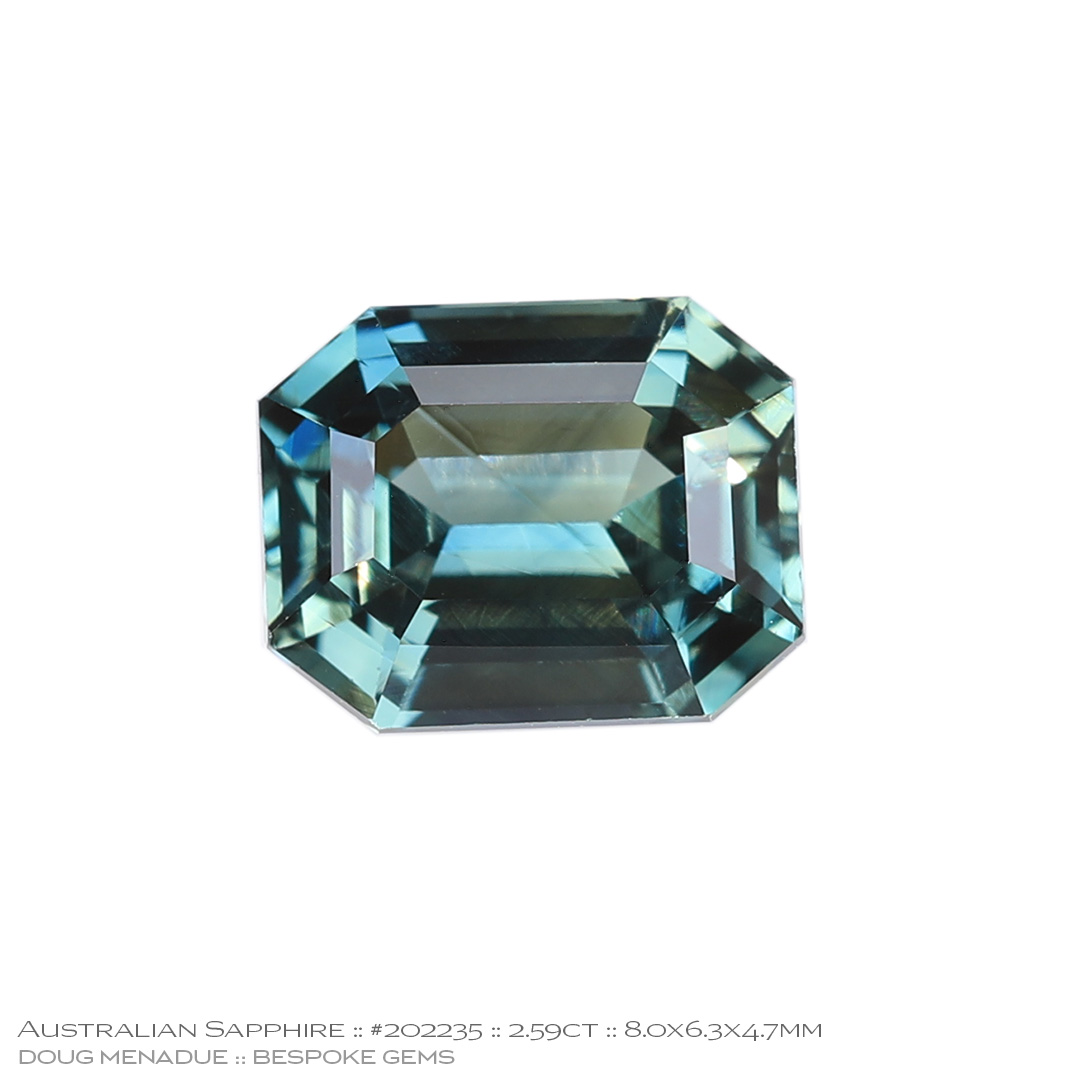 #202235, Blue Green Sapphire, Emerald Cut, 2.59 Carats, 13.16X13.11X10.41mm - Doug Menadue :: Bespoke Gems - WWW.BESPOKE-GEMS.COM - Precision Gemcutting and Lapidary Services In Sydney Australia