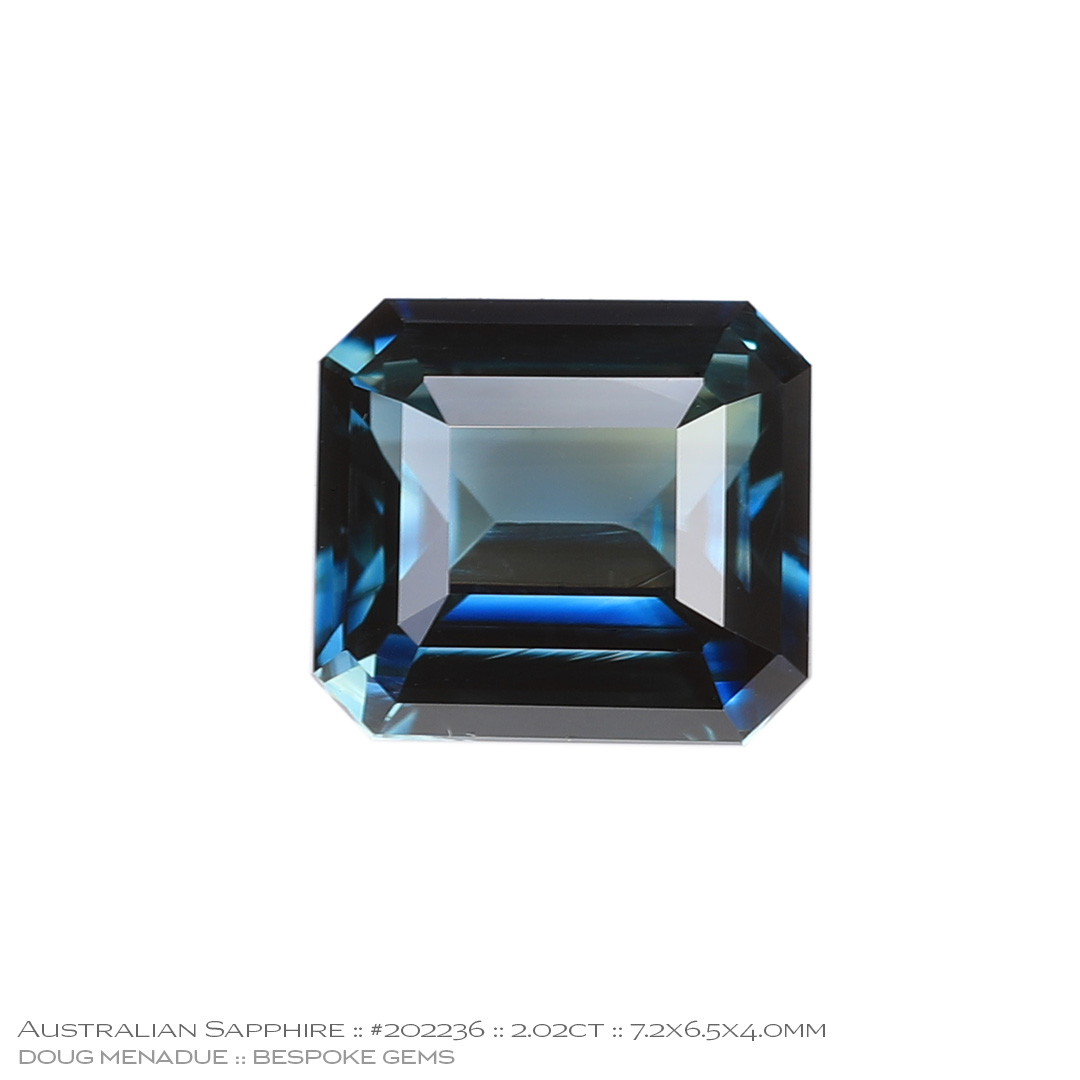 #202236, Blue Green Parti Sapphire, Emerald Cut, 2.02 Carats, 13.16X13.11X10.41mm - Doug Menadue :: Bespoke Gems - WWW.BESPOKE-GEMS.COM - Precision Gemcutting and Lapidary Services In Sydney Australia