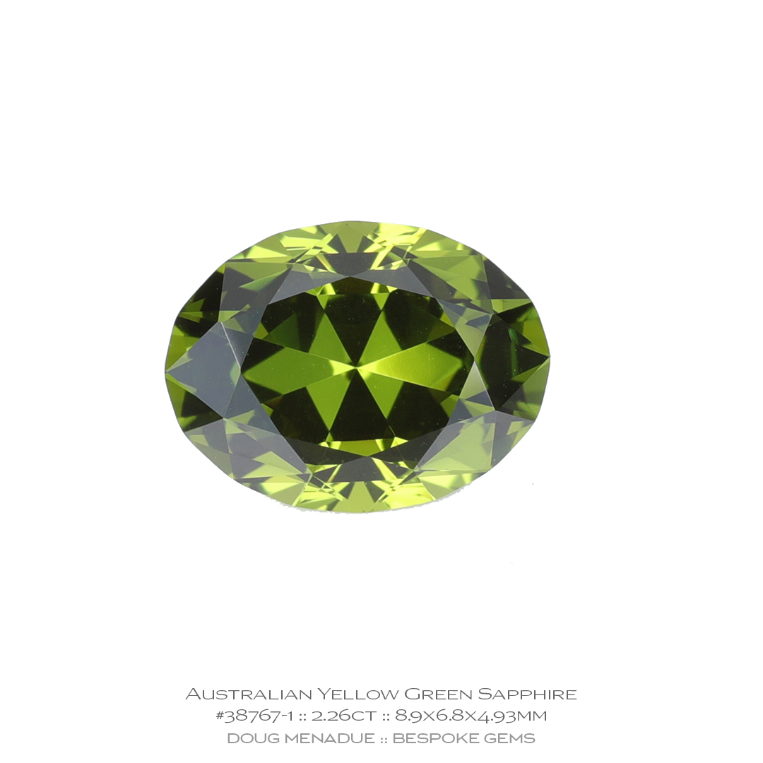 #38767-1, Yellow Green Sapphire, Supernova Oval, 2.26 Carats, 13.16X13.11X10.41mm - Doug Menadue :: Bespoke Gems - WWW.BESPOKE-GEMS.COM - Precision Gemcutting and Lapidary Services In Sydney, Australia
