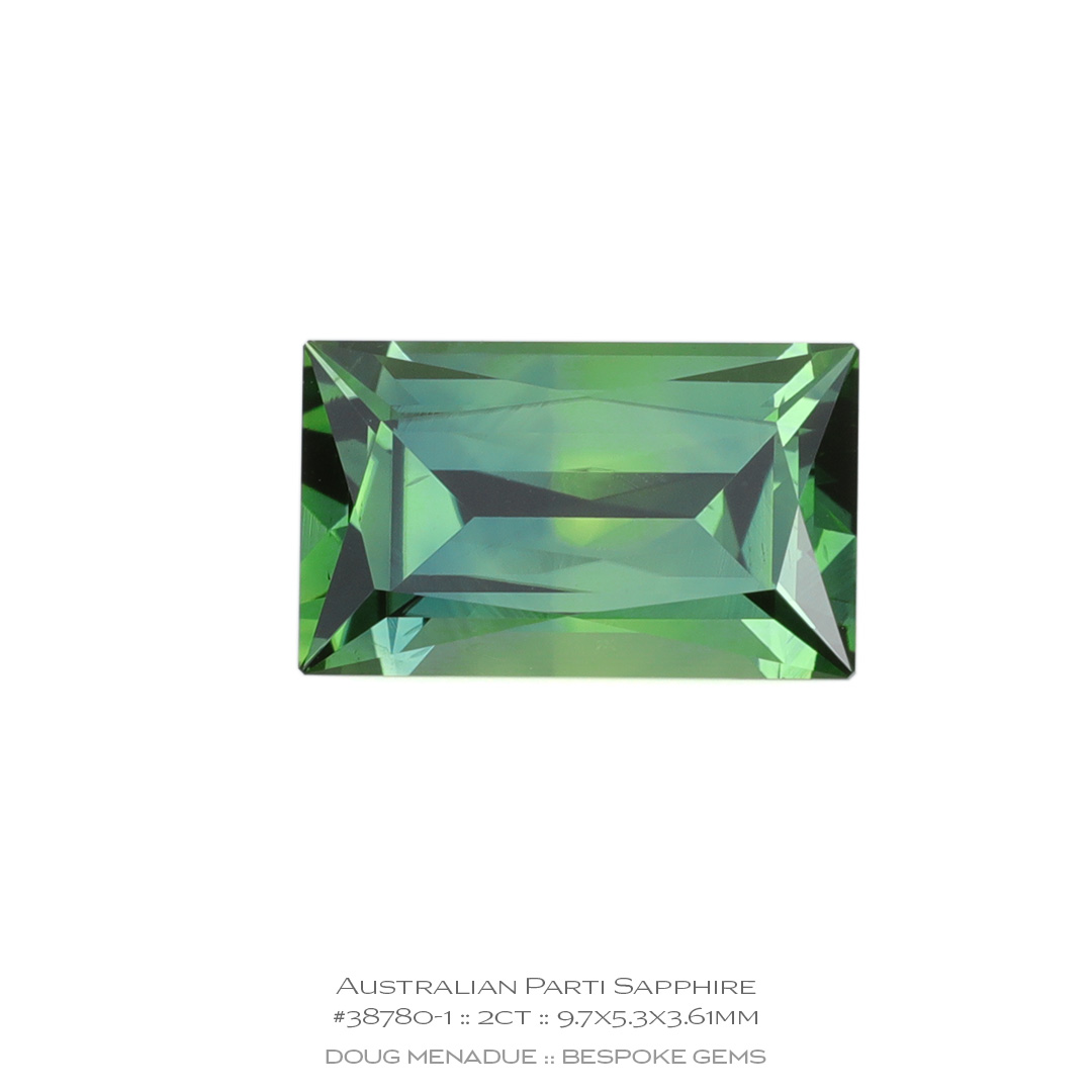 #38780-1, Yellow Green Blue Parti Sapphire, Baguette, 2 Carats, 13.16X13.11X10.41mm - Doug Menadue :: Bespoke Gems - WWW.BESPOKE-GEMS.COM - Precision Gemcutting and Lapidary Services In Sydney, Australia