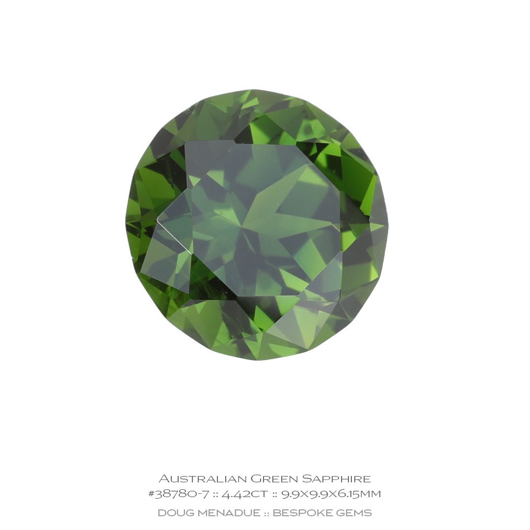 #38780-7, Green Sapphire, Round Brilliant, 4.42 Carats, 13.16X13.11X10.41mm - Doug Menadue :: Bespoke Gems - WWW.BESPOKE-GEMS.COM - Precision Gemcutting and Lapidary Services In Sydney, Australia